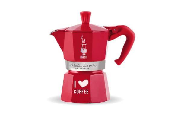 Bialetti Espressokanne I love Coffee 3 Tassen, Rot